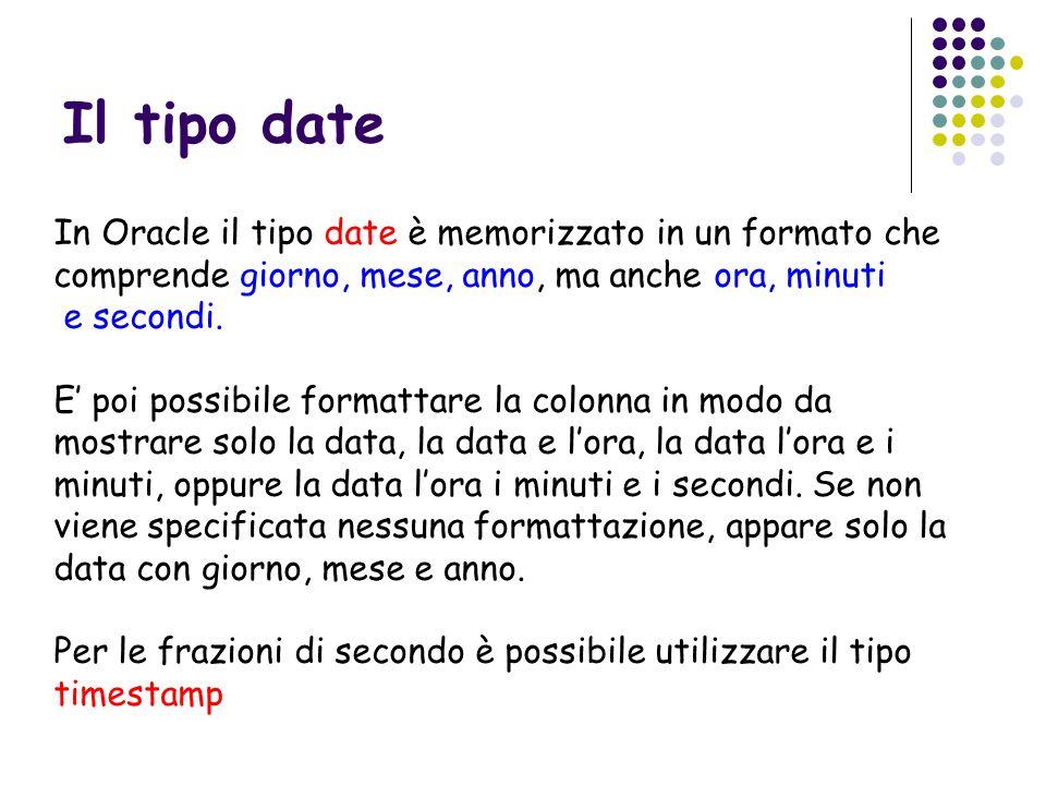 Il tipo date In Oracle il tipo date è memorizzato in un formato che comprende giorno, mese, anno, ma anche ora, minuti.