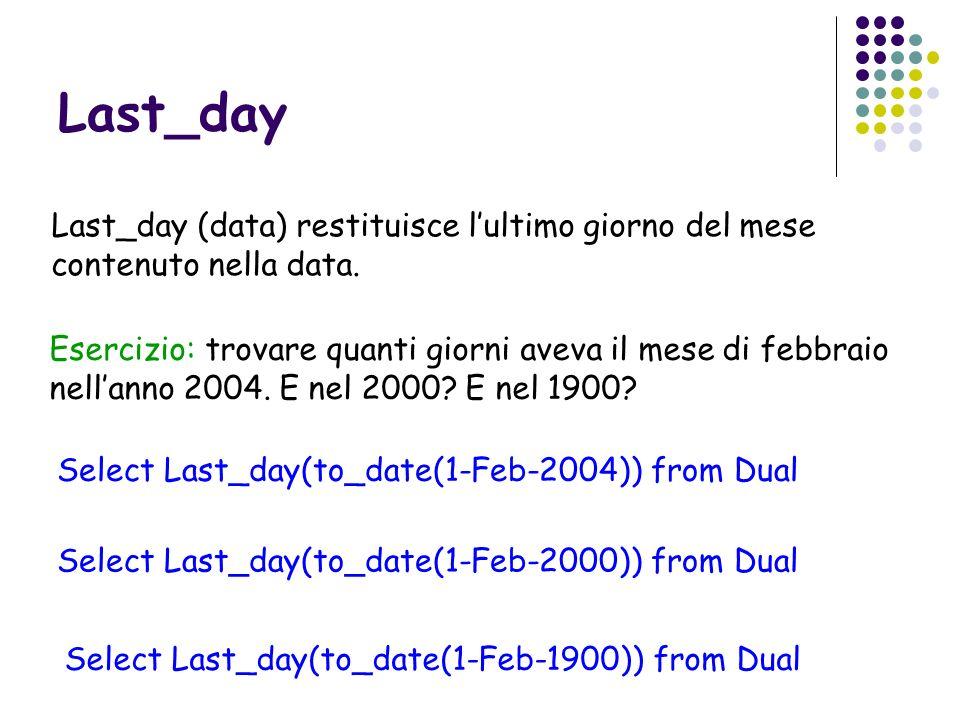 Last_dayLast_day (data) restituisce l'ultimo giorno del mese contenuto nella data.