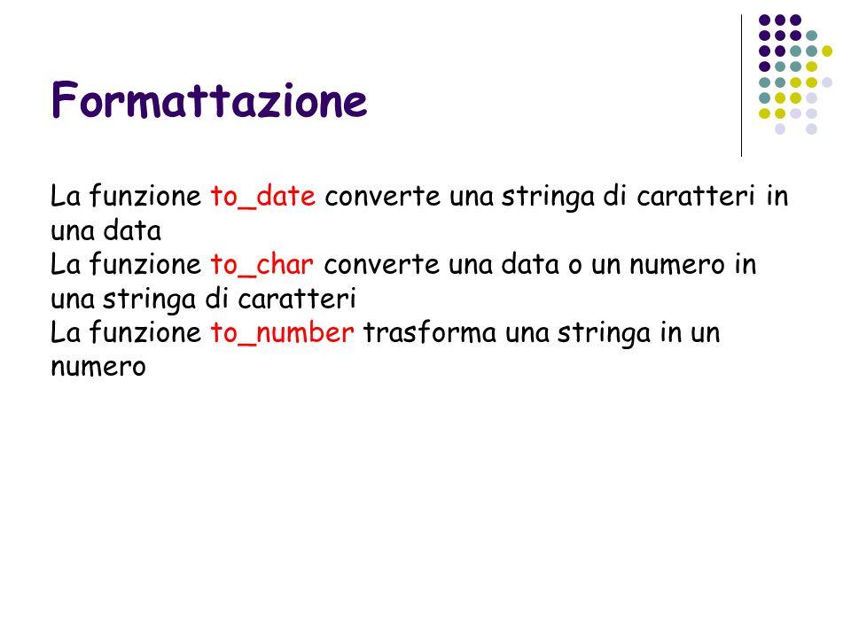 Formattazione La funzione to_date converte una stringa di caratteri in una data.