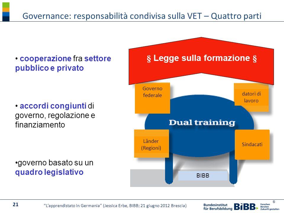 Governance: responsabilità condivisa sulla VET – Quattro parti
