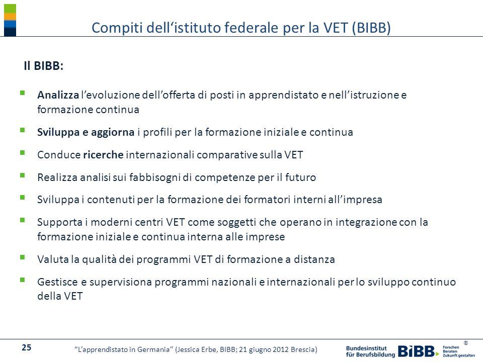 Compiti dell'istituto federale per la VET (BIBB)