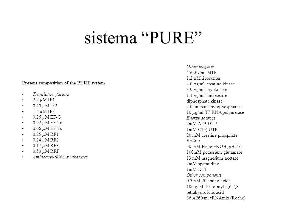 sistema PURE Other enzymes 4500U/ml MTF 1.2 mM ribosomes