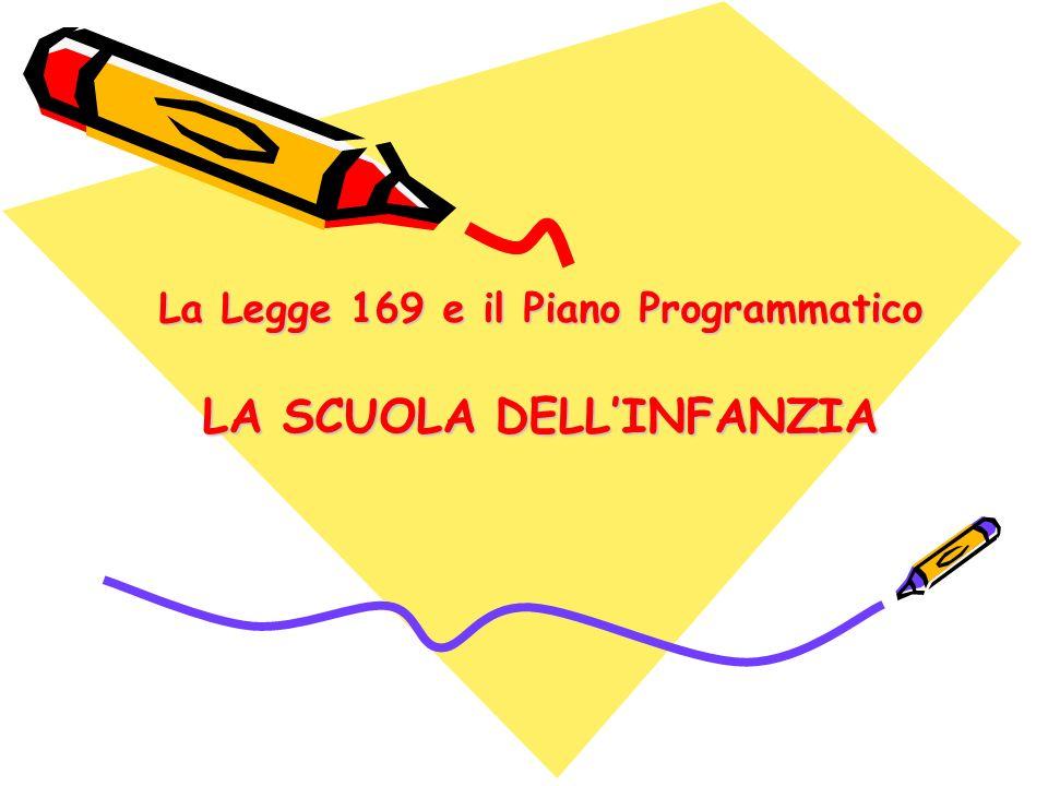 La Legge 169 e il Piano Programmatico LA SCUOLA DELL'INFANZIA