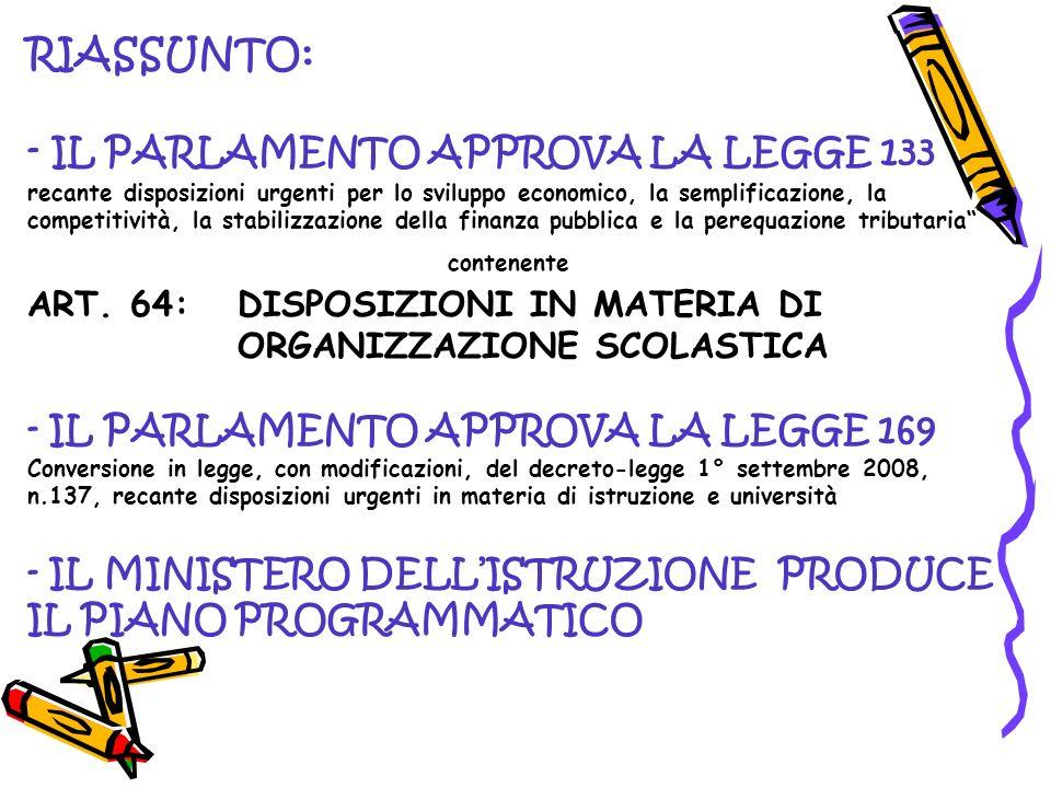 RIASSUNTO: - IL PARLAMENTO APPROVA LA LEGGE 133 recante disposizioni urgenti per lo sviluppo economico, la semplificazione, la competitività, la stabilizzazione della finanza pubblica e la perequazione tributaria contenente ART.