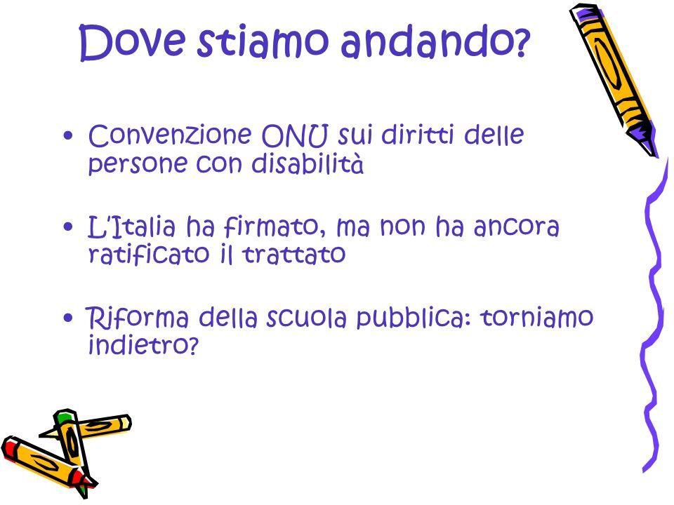 Dove stiamo andando Convenzione ONU sui diritti delle persone con disabilità. L'Italia ha firmato, ma non ha ancora ratificato il trattato.