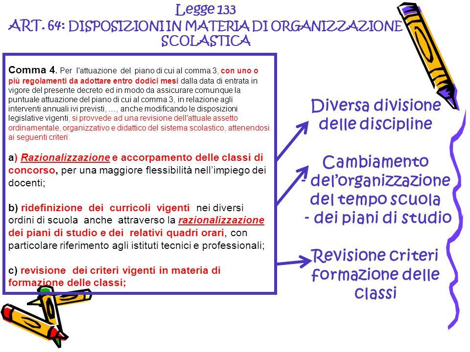 Diversa divisione delle discipline