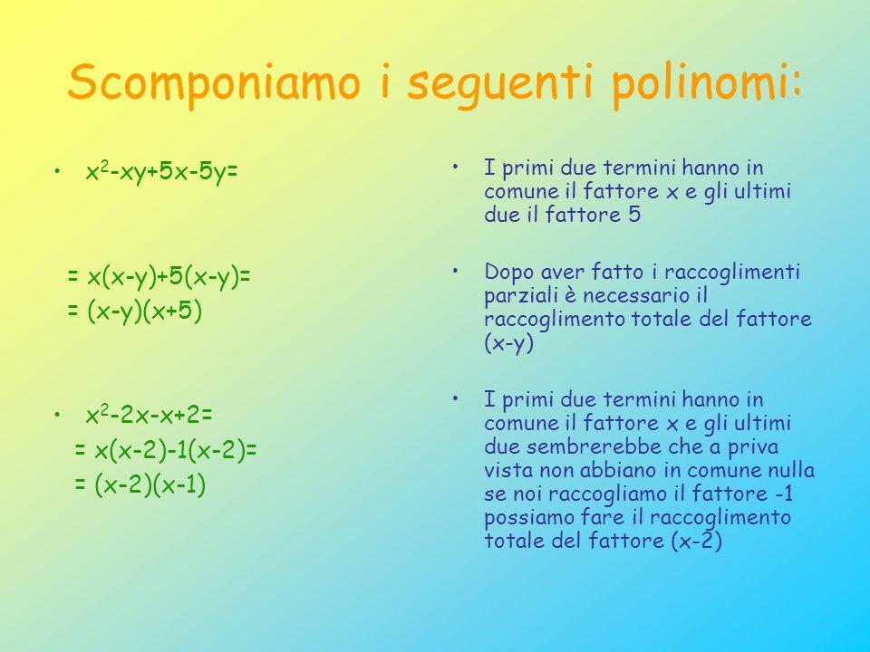 Scomponiamo i seguenti polinomi: