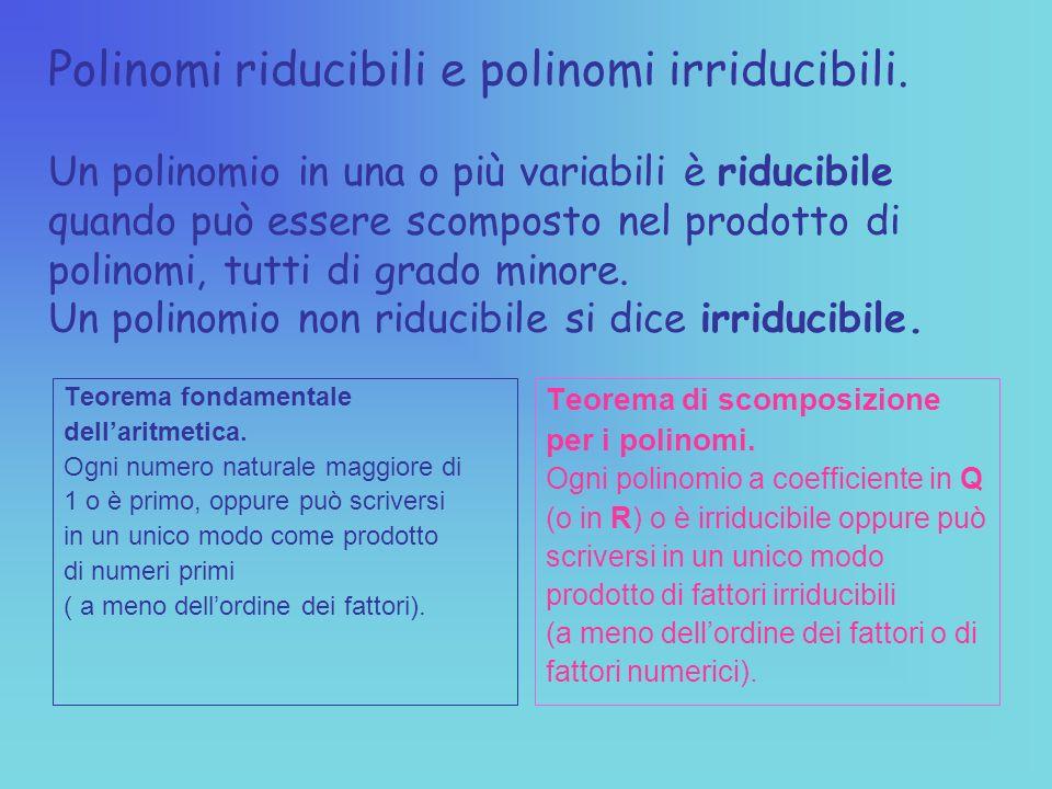 Polinomi riducibili e polinomi irriducibili