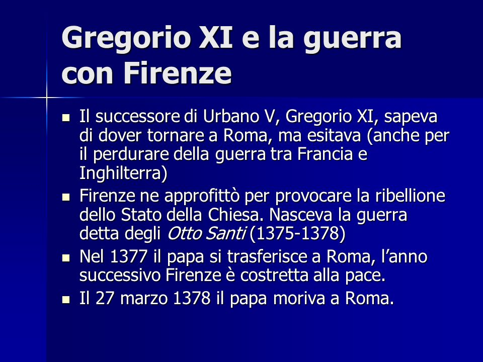Gregorio XI e la guerra con Firenze