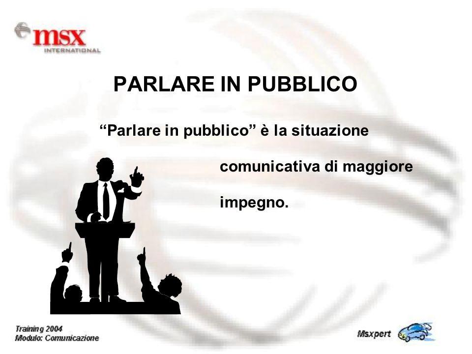 PARLARE IN PUBBLICO Parlare in pubblico è la situazione comunicativa di maggiore impegno.