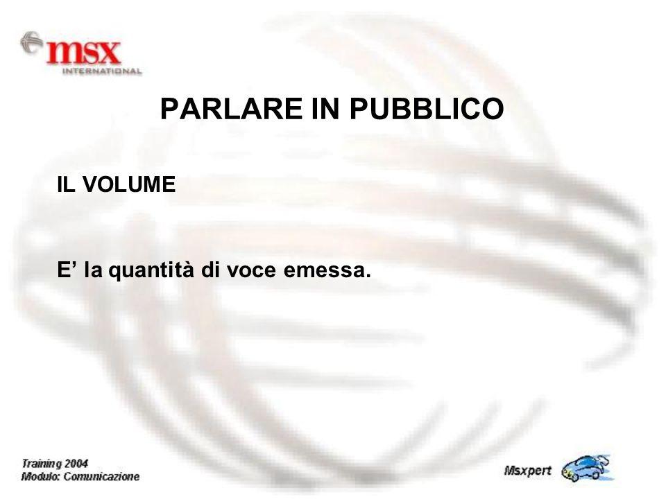 PARLARE IN PUBBLICO IL VOLUME E' la quantità di voce emessa.