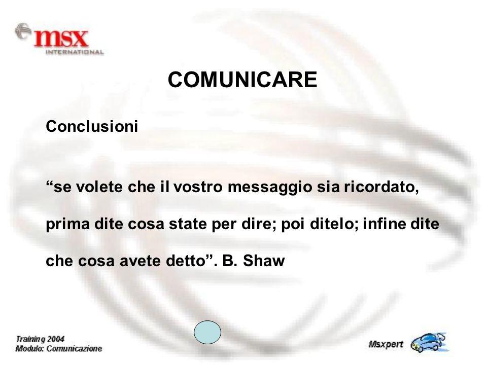 COMUNICARE Conclusioni