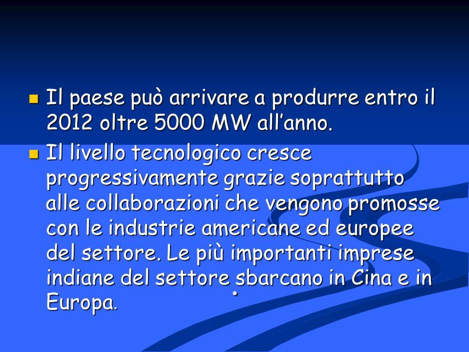 . Il paese può arrivare a produrre entro il 2012 oltre 5000 MW all'anno.