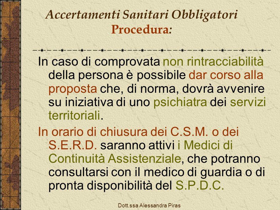 Accertamenti Sanitari Obbligatori Procedura: