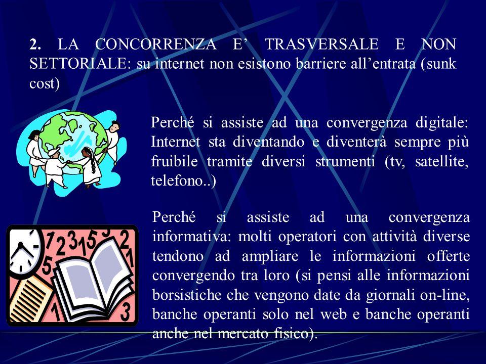 2. LA CONCORRENZA E' TRASVERSALE E NON SETTORIALE: su internet non esistono barriere all'entrata (sunk cost)