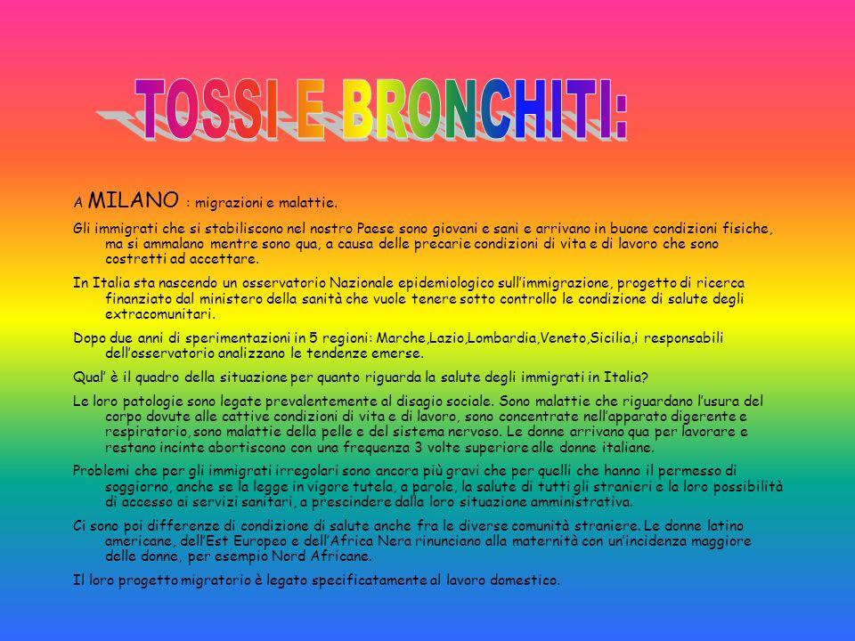 TOSSI E BRONCHITI: A MILANO : migrazioni e malattie.