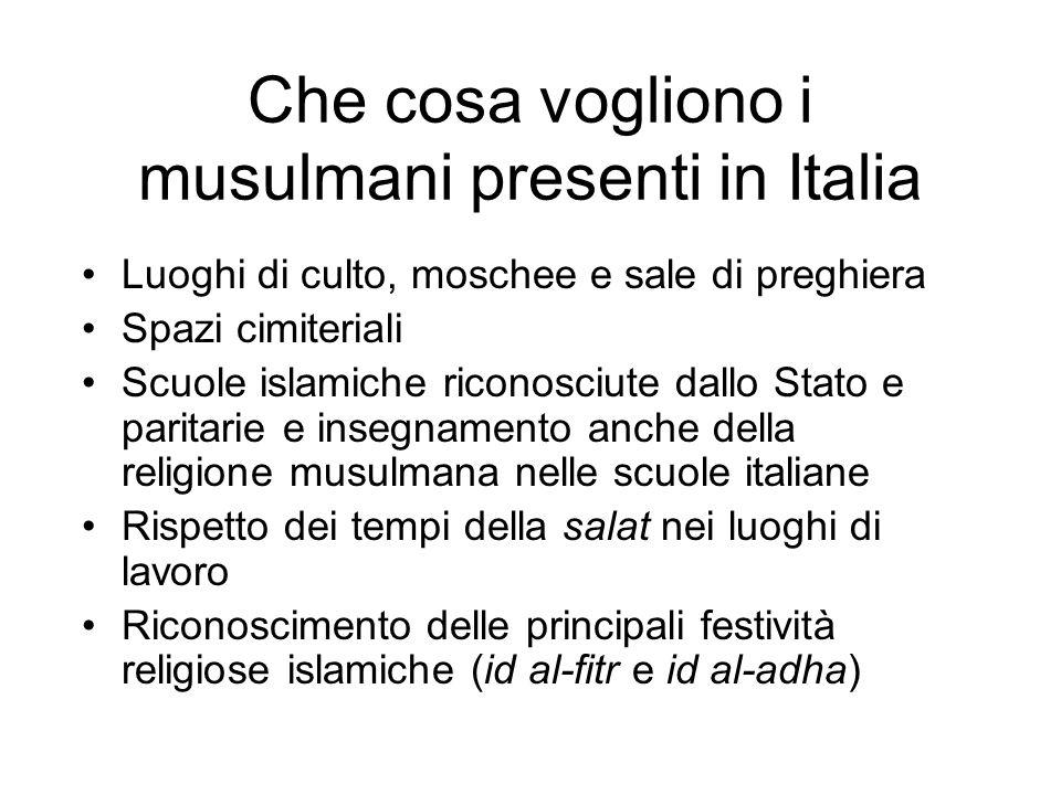 Che cosa vogliono i musulmani presenti in Italia