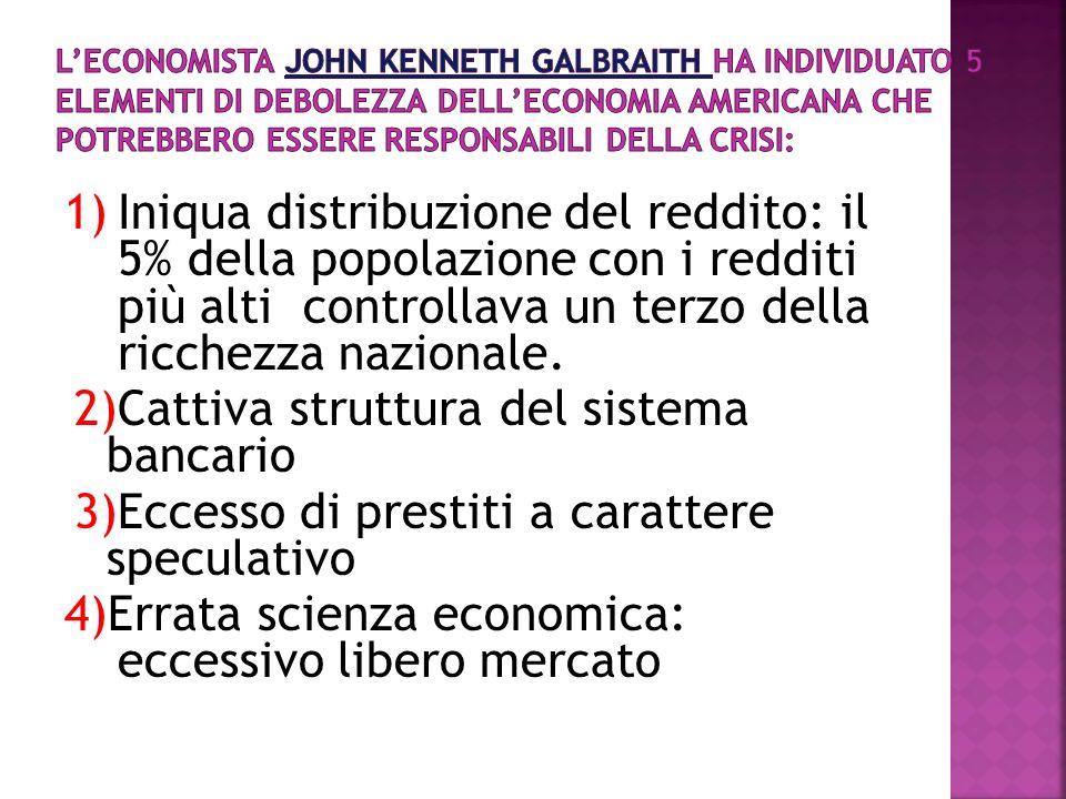 L'economista John Kenneth Galbraith ha individuato 5 elementi di debolezza dell'economia americana che potrebbero essere responsabili della crisi: