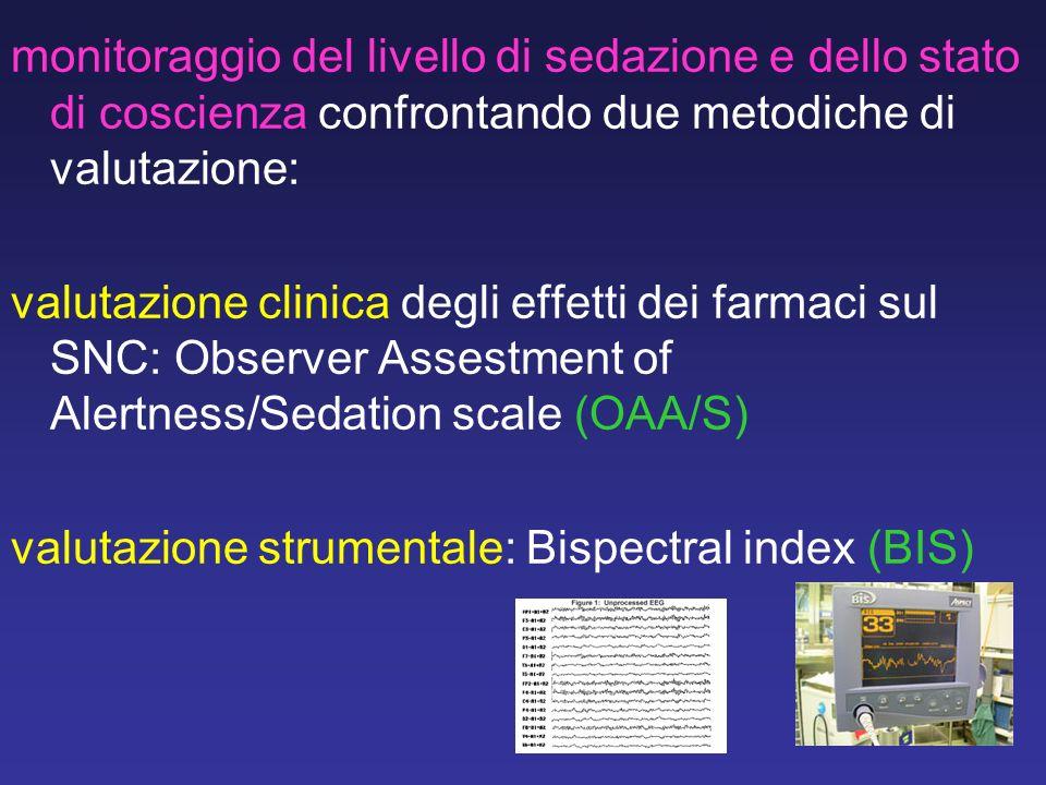 monitoraggio del livello di sedazione e dello stato di coscienza confrontando due metodiche di valutazione: