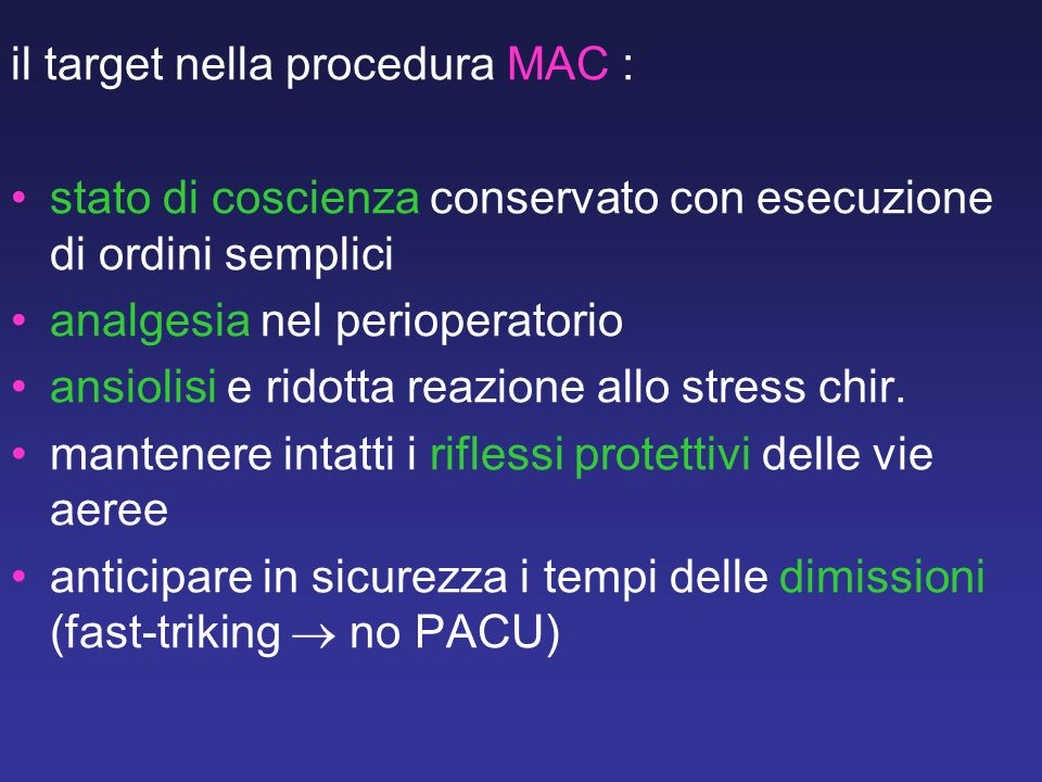 il target nella procedura MAC :