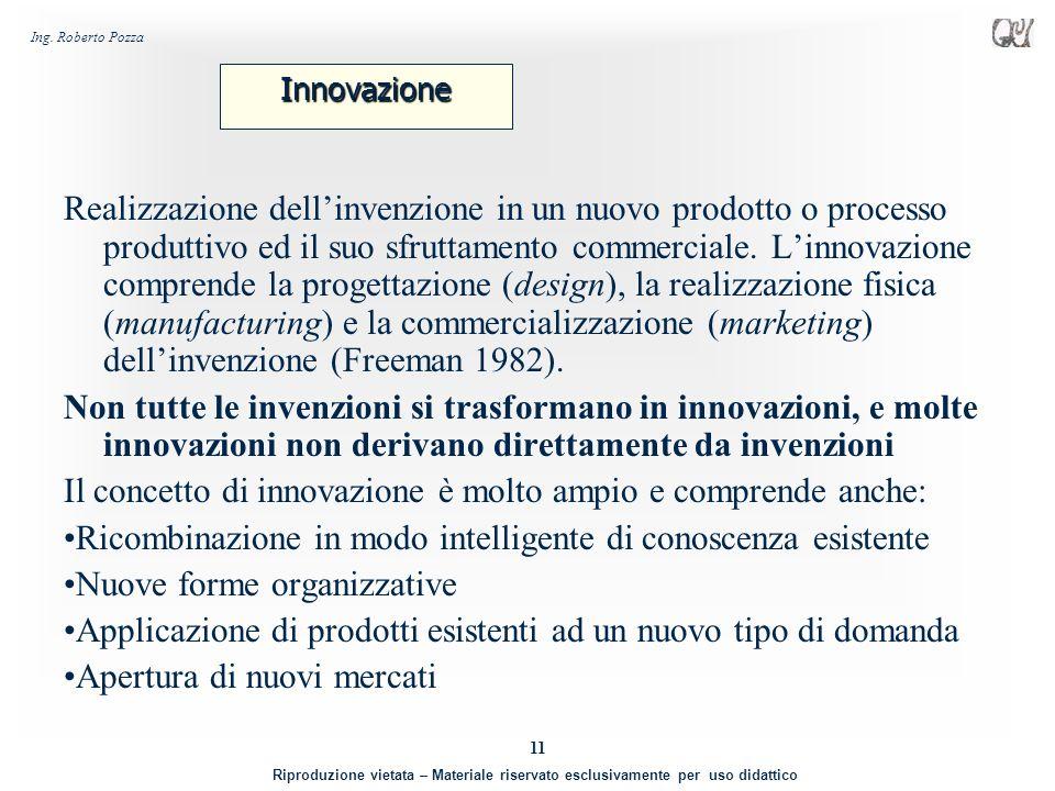 Il concetto di innovazione è molto ampio e comprende anche: