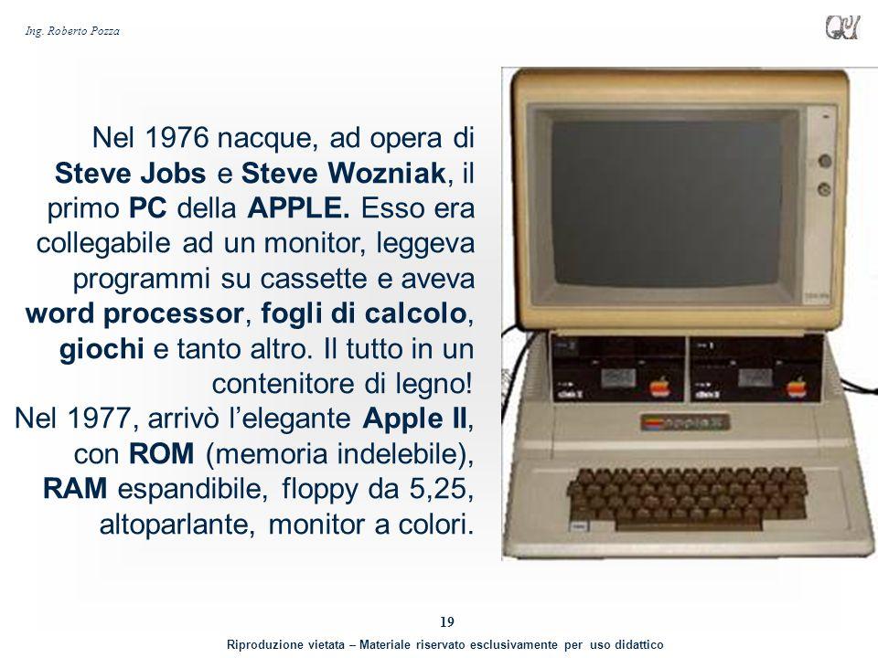 Nel 1976 nacque, ad opera di Steve Jobs e Steve Wozniak, il primo PC della APPLE. Esso era collegabile ad un monitor, leggeva programmi su cassette e aveva word processor, fogli di calcolo, giochi e tanto altro. Il tutto in un contenitore di legno!