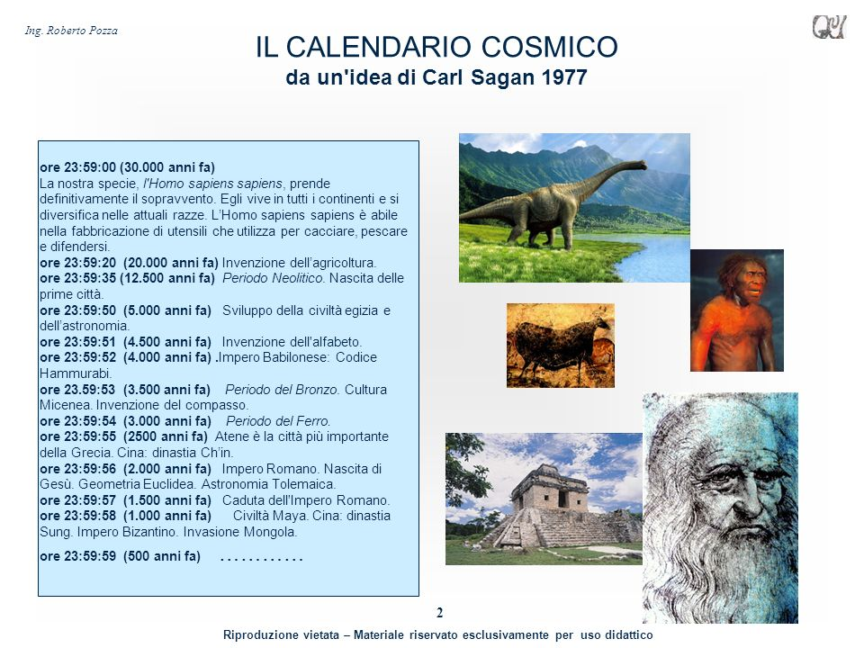 IL CALENDARIO COSMICO da un idea di Carl Sagan 1977