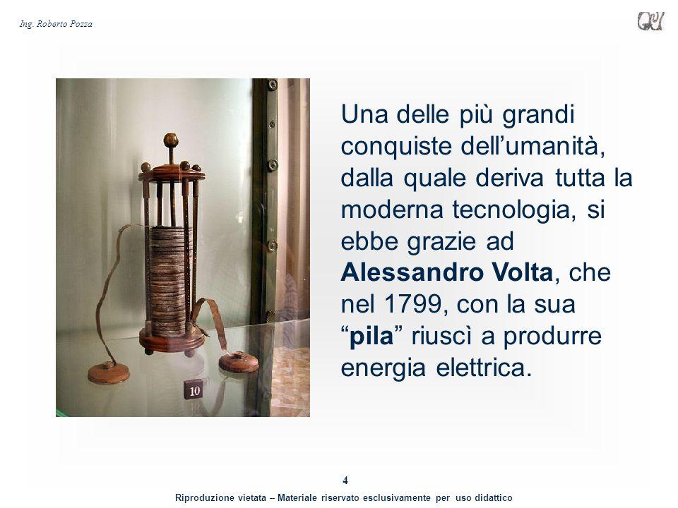 Una delle più grandi conquiste dell'umanità, dalla quale deriva tutta la moderna tecnologia, si ebbe grazie ad Alessandro Volta, che nel 1799, con la sua pila riuscì a produrre energia elettrica.