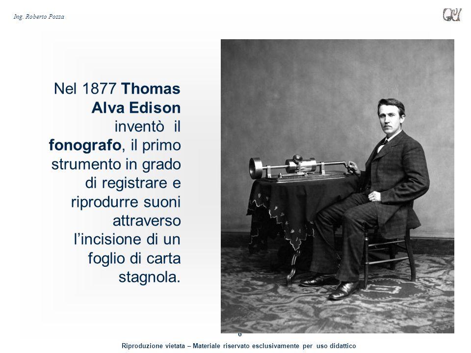 Nel 1877 Thomas Alva Edison inventò il fonografo, il primo strumento in grado di registrare e riprodurre suoni attraverso l'incisione di un foglio di carta stagnola.
