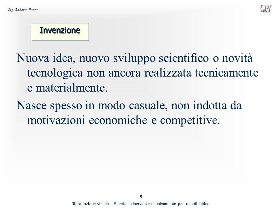 Invenzione Nuova idea, nuovo sviluppo scientifico o novità tecnologica non ancora realizzata tecnicamente e materialmente.