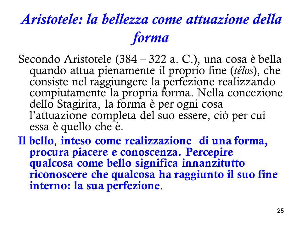 Aristotele: la bellezza come attuazione della forma