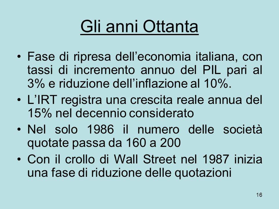 Gli anni Ottanta Fase di ripresa dell'economia italiana, con tassi di incremento annuo del PIL pari al 3% e riduzione dell'inflazione al 10%.