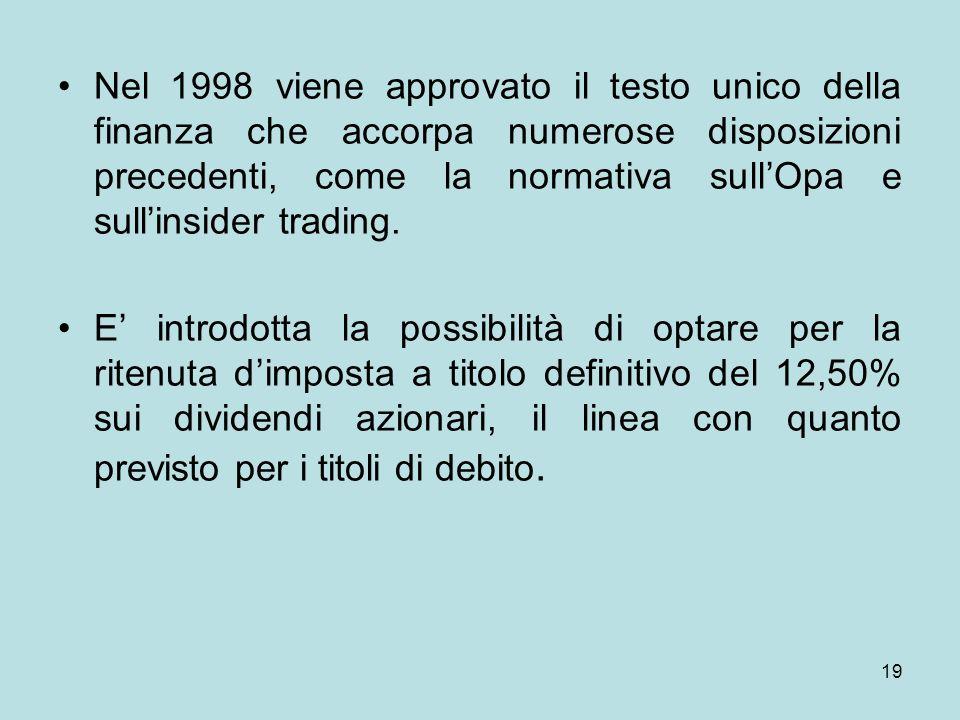 Nel 1998 viene approvato il testo unico della finanza che accorpa numerose disposizioni precedenti, come la normativa sull'Opa e sull'insider trading.