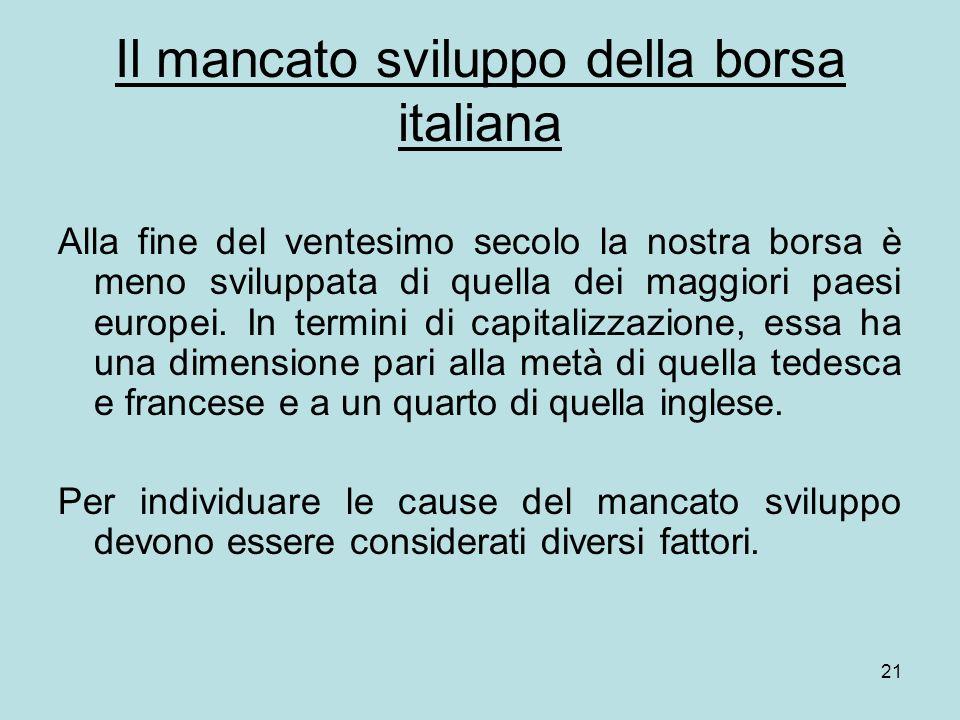 Il mancato sviluppo della borsa italiana