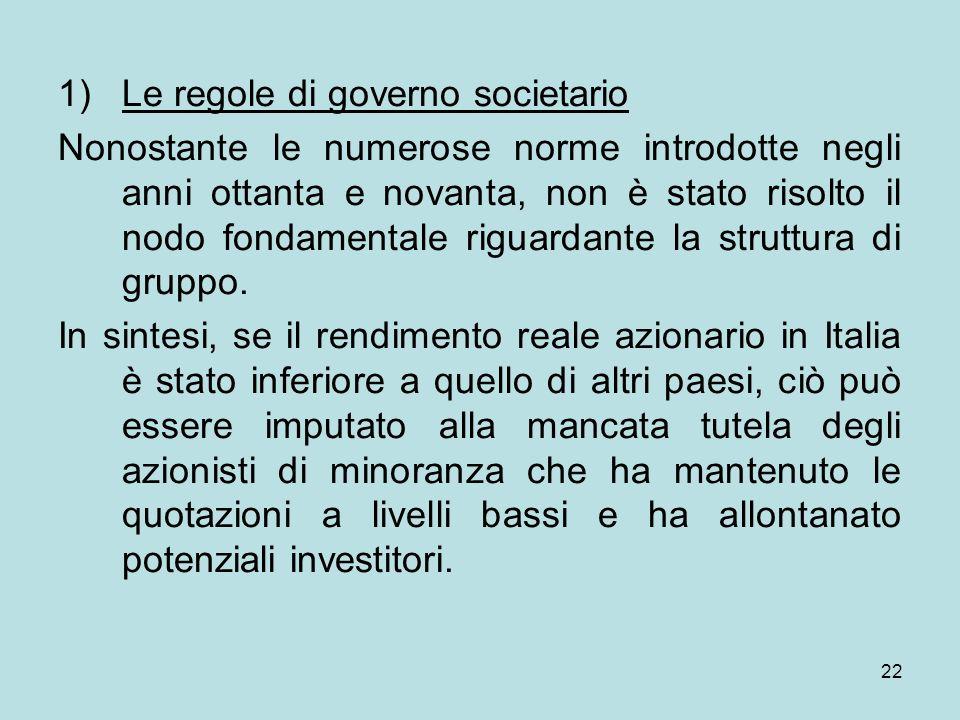 Le regole di governo societario