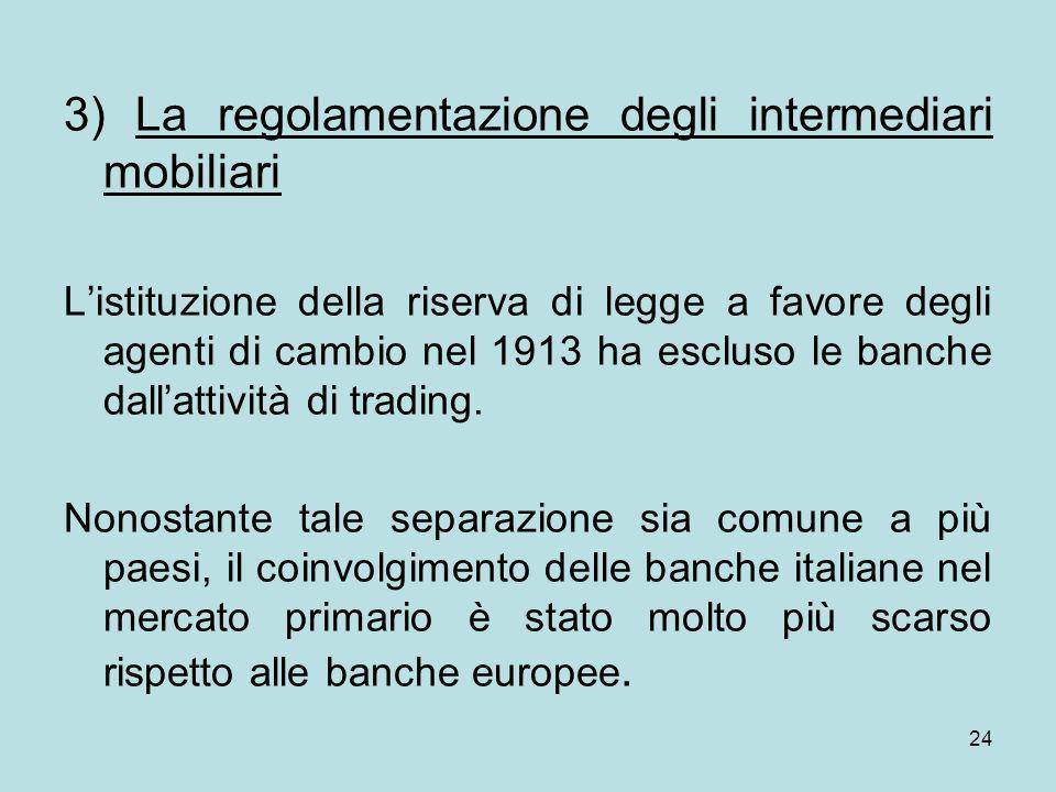 3) La regolamentazione degli intermediari mobiliari