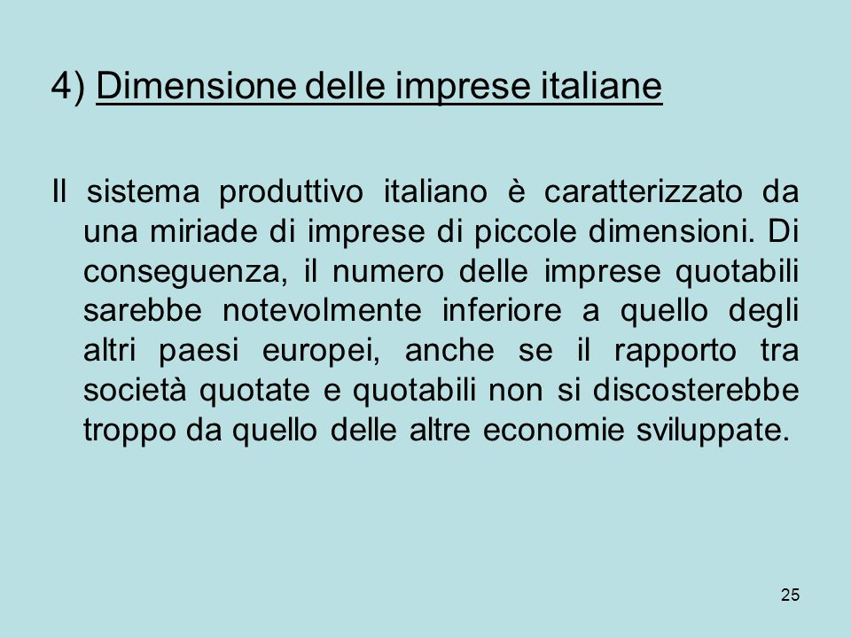 4) Dimensione delle imprese italiane