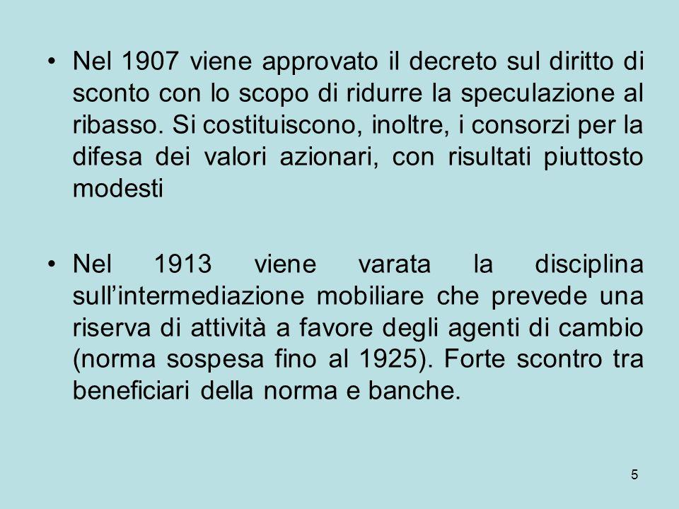 Nel 1907 viene approvato il decreto sul diritto di sconto con lo scopo di ridurre la speculazione al ribasso. Si costituiscono, inoltre, i consorzi per la difesa dei valori azionari, con risultati piuttosto modesti