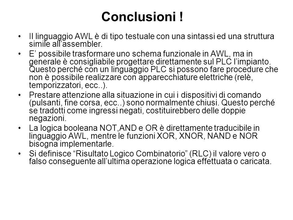 Conclusioni !Il linguaggio AWL è di tipo testuale con una sintassi ed una struttura simile all'assembler.