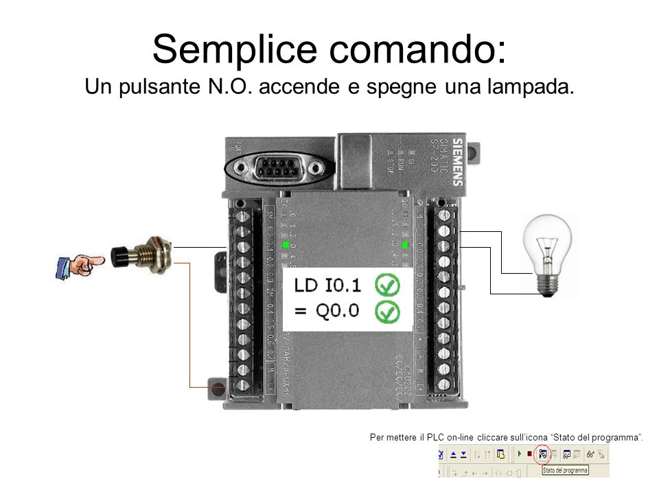 Semplice comando: Un pulsante N.O. accende e spegne una lampada.