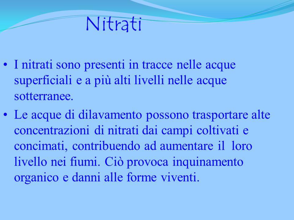 NitratiI nitrati sono presenti in tracce nelle acque superficiali e a più alti livelli nelle acque sotterranee.