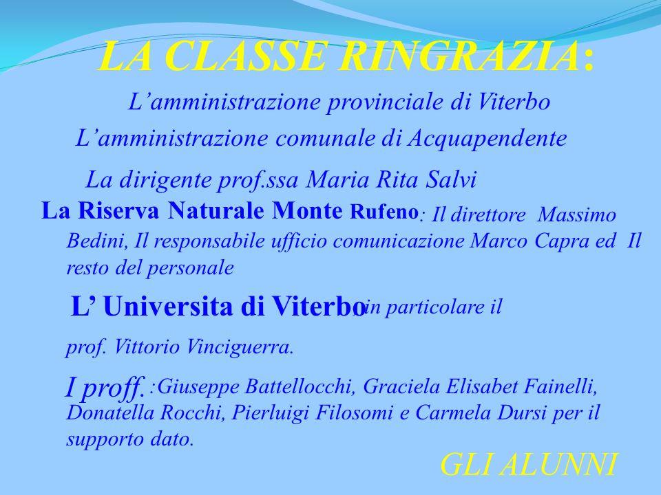 La Riserva Naturale Monte Rufeno L' Universita di Viterbo