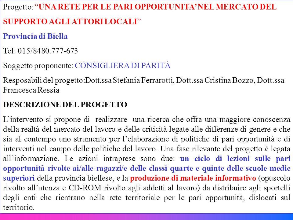 Progetto: UNA RETE PER LE PARI OPPORTUNITA' NEL MERCATO DEL