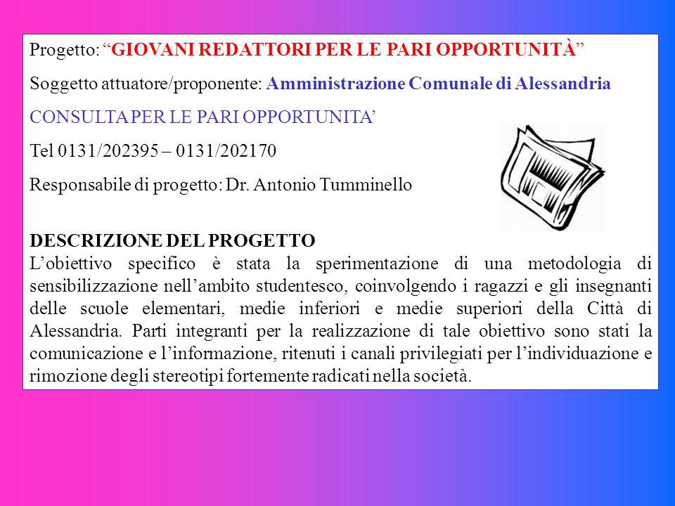 Progetto: GIOVANI REDATTORI PER LE PARI OPPORTUNITÀ