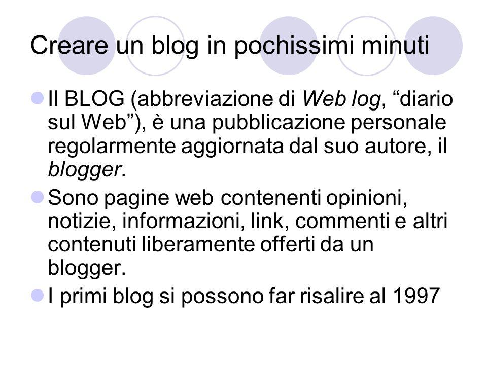Creare un blog in pochissimi minuti