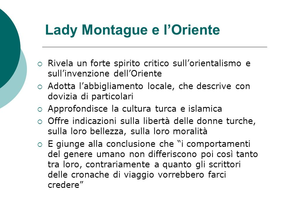 Lady Montague e l'Oriente