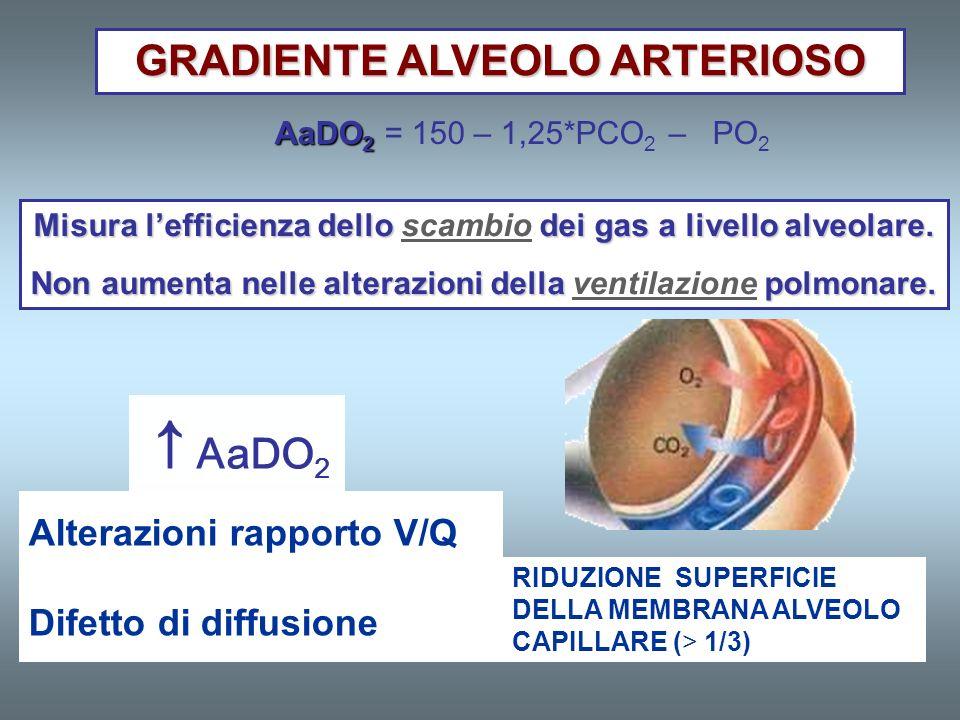 ↑AaDO2 GRADIENTE ALVEOLO ARTERIOSO GRADIENTE ALVEOLO ARTERIOSO