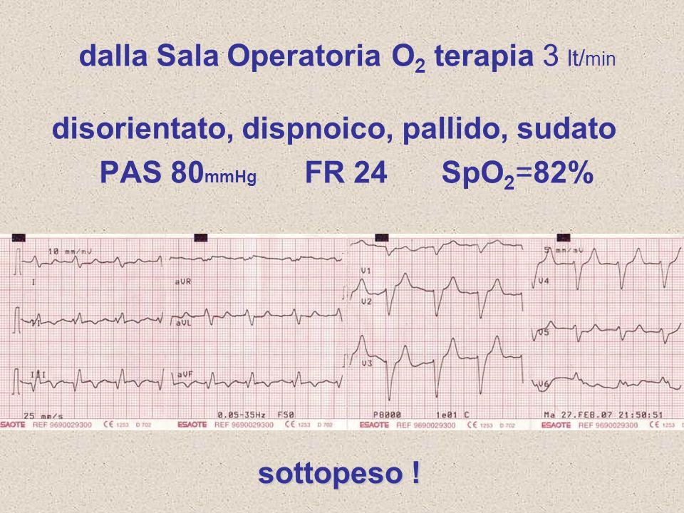 dalla Sala Operatoria O2 terapia 3 lt/min