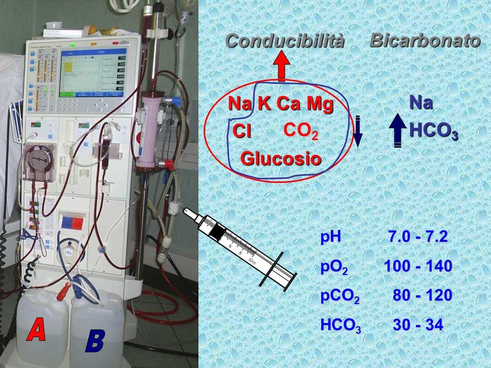 A B Conducibilità Bicarbonato Na K Ca Mg Na Cl acetato HCO3 Glucosio