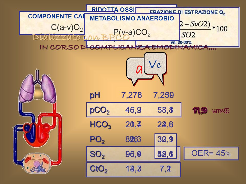 vc a Dializzato con BPCO PvO2 < 40 mmHg SvO2 < 75% C(a-v)O2